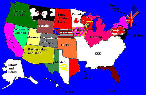 Bored To Death Map Of USA Stereotypes - Us stereotypes map